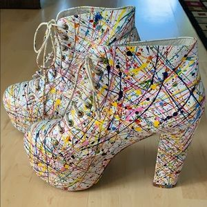 Jeffrey Campbell Hand painted multi colored heels